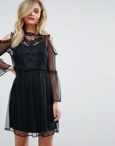 Сетчатое платье с вышивкой Miss Selfridge - Мульти