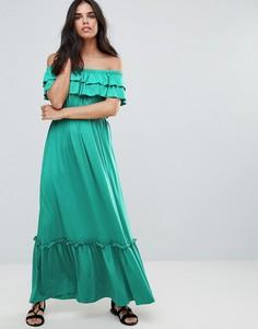 Платье макси с открытыми плечами и оборками Pussycat London - Зеленый