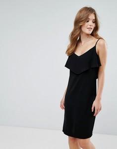 Платье на бретелях с оборкой Lavand - Черный