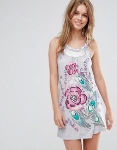 Платье-туника с цветочным принтом Pussycat London - Серый