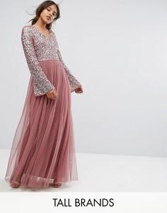 Платье макси из тюля с пайетками Maya Tall - Фиолетовый