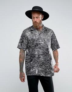 Атласная рубашка с отложным воротником и леопардовым принтом Roadies of 66 - Мульти