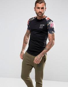 Черная футболка с цветочным принтом на рукавах 11 Degrees - Черный