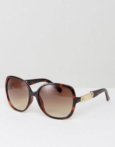 Большие солнцезащитные очки с золотистой отделкой Carvela - Коричневый