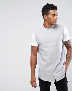 Серая обтягивающая рубашка с трикотажными рукавами SikSilk - Серый