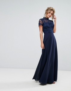 Кружевное платье макси 2 в 1 Chi Chi London - Темно-синий