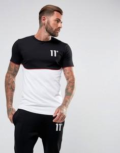 Черная футболка с белой вставкой 11 Degrees - Черный
