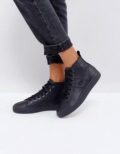 Высокие кожаные кроссовки Fred Perry - Черный