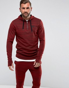 Худи бордового цвета с короткой молнией 11 Degrees - Красный