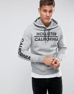 Серый худи с принтом логотипа Hollister - Серый