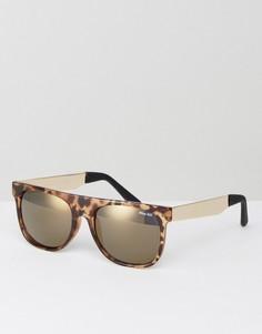 Черепаховые солнцезащитные очки с плоским верхом Miss KG - Коричневый