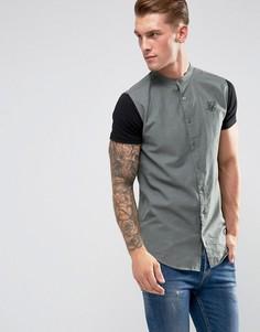 Обтягивающая рубашка цвета хаки с трикотажными рукавами SikSilk - Серый