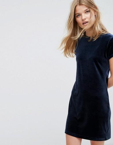 Бархатное платье-футболка Weekday - Темно-синий