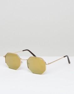 Круглые солнцезащитные очки в золотистой оправе Quay Australia On A Dime - Золотой