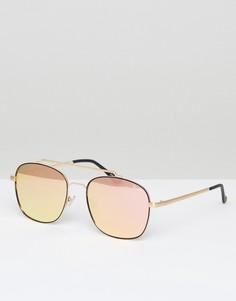 Золотисто-розовые солнцезащитные очки-авиаторы Quay Australia - Розовый