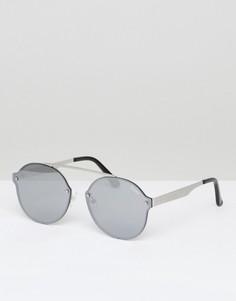 Круглые солнцезащитные очки в серебристой оправе Quay Australia Camden Heights - Серебряный