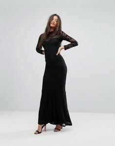 Платье макси с высоким воротом, кружевными рукавами и подолом годе Lipsy - Черный