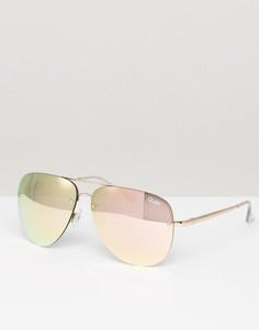 Солнцезащитные очки-авиаторы в оправе цвета розового золота Quay Australia Muse - Золотой