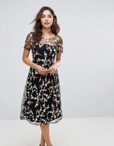 Платье миди с цветочной вышивкой и полупрозрачными рукавами Liquorish - Черный