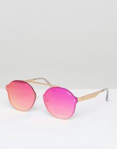 Розовые круглые солнцезащитные очки Quay Australia Camden Heights - Розовый
