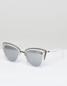 Солнцезащитные очки кошачий глаз в прозрачной оправе Quay Australia My Girl - Серебряный