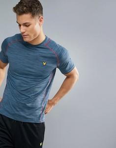 Спортивная меланжевая футболка с контрастной отделкой Lyle & Scott Fitness Jones - Синий