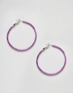 Блестящие серьги-кольца Monki - Фиолетовый