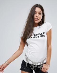 Футболка с принтом The Female Revolution Boohoo - Белый