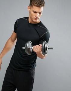 Черная футболка с сетчатой вставкой New Look SPORT - Черный