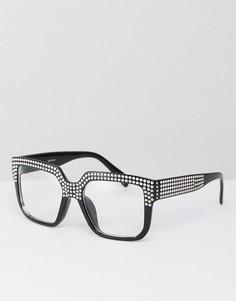Квадратные очки с декоративной отделкой и прозрачными стеклами ASOS - Черный