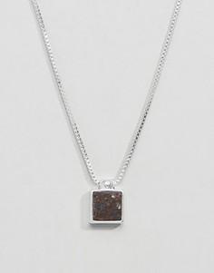 Посеребренное ожерелье с коричневым камнем Pilgrim - Серебряный