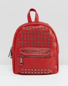 Красный рюкзак со отделкой заклепками Yoki - Красный