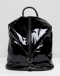 Черный блестящий рюкзак с вертикальной молнией Claudia Canova - Черный