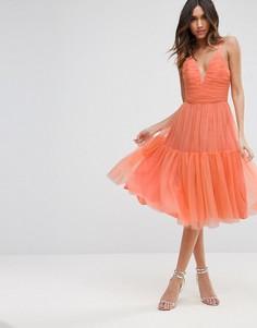 Тюлевое платье миди для выпускного ASOS - Оранжевый