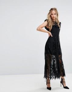 Кружевное платье миди с оборками на рукавах Foxiedox - Черный