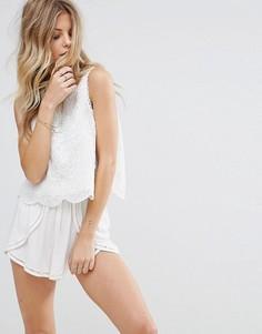 Кружевная блузка с фигурными кромками Moon River - Белый