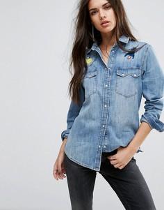 Джинсовая рубашка с вышивкой Diesel - Синий
