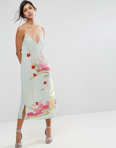 Платье-комбинация с цветочной вышивкой ASOS PREMIUM - Зеленый