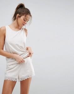 Светло-бежевая меланжевая пижама с майкой и шортами с кружевной отделкой ASOS - Бежевый
