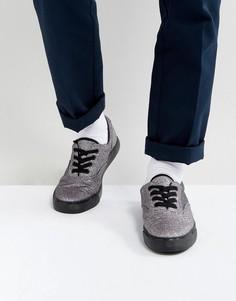 Блестящие кеды со шнуровкой и черной подошвой ASOS - Черный