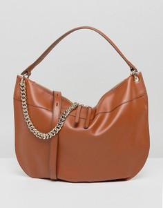 Светло-коричневая большая сумка на плечо с цепочкой Fiorelli - Рыжий