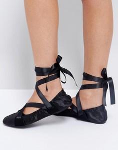 Черные балетки с завязкой на ленточку Lost Ink - Черный