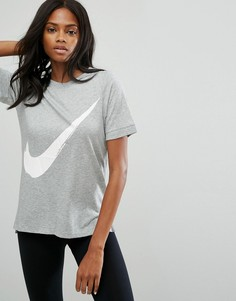 Футболка с фирменным символом Nike - Серый