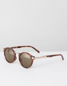 Круглые солнцезащитные очки в черепаховой оправе с золотистой отделкой ASOS - Коричневый
