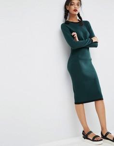 Платье миди в рубчик ASOS - Зеленый
