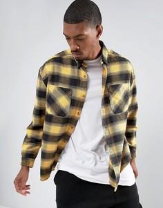 Желтая свободная рубашка в клетку с эффектом кислотной стирки ASOS - Желтый