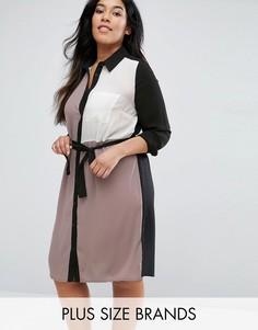 Платье-рубашка колор блок Lovedrobe Plus - Черный