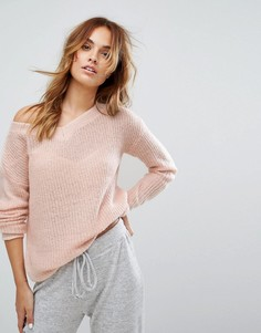 Свободный джемпер с открытыми плечами Micha - Розовый