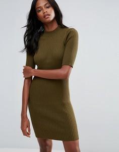Трикотажное платье с воротником поло First & I - Зеленый