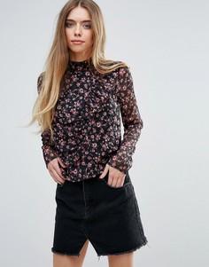 Блузка с высоким воротом и цветочным принтом First & I - Мульти